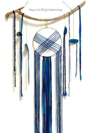 This was made for a couple wanted to incorporate geodes into a modern take on the dream catcher, in...