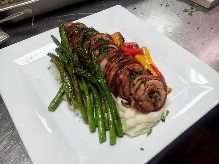 chicken roulette wrapped with bacon