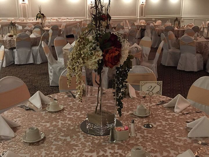 Table setting with floral centerpiece