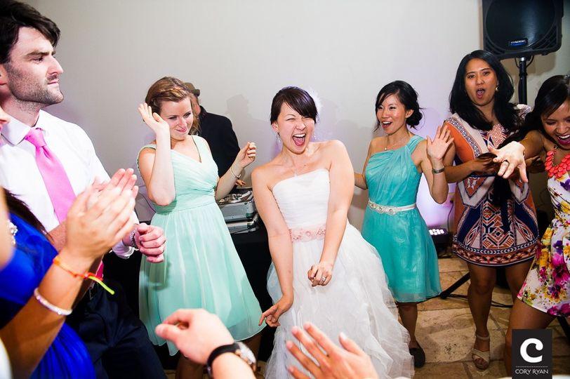 Bride loving the tunes