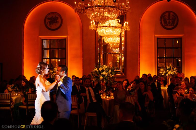 Couple dance in romantic lighting
