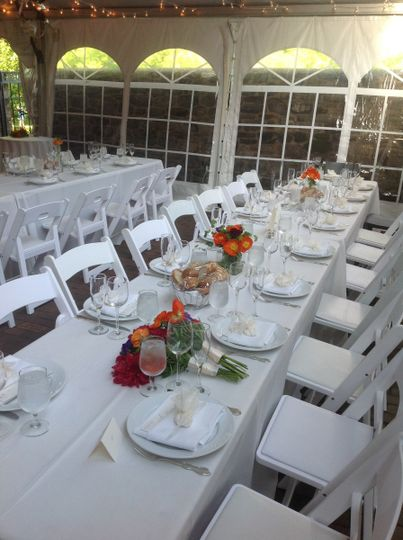 The white tables and chairs