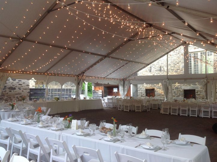 Reception area with long table