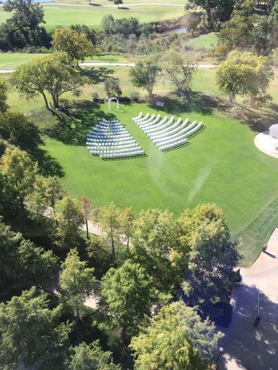Aerial view of the wedding ceremony setup