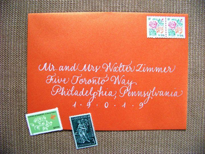 classic orange envelope white ink