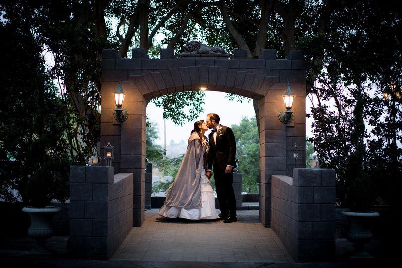 Newlyweds kiss at twilight