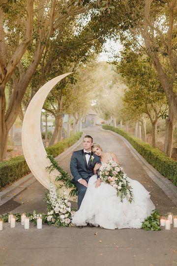 Newlyweds on crescent moon