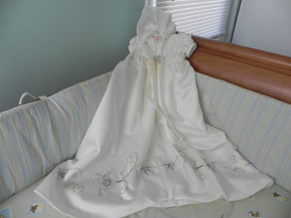 Custom christening outfit for baby girl made from Mom's wedding gown.