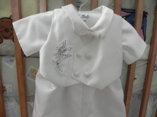 Custom christening outfit for baby boy made from Mom's wedding gown.