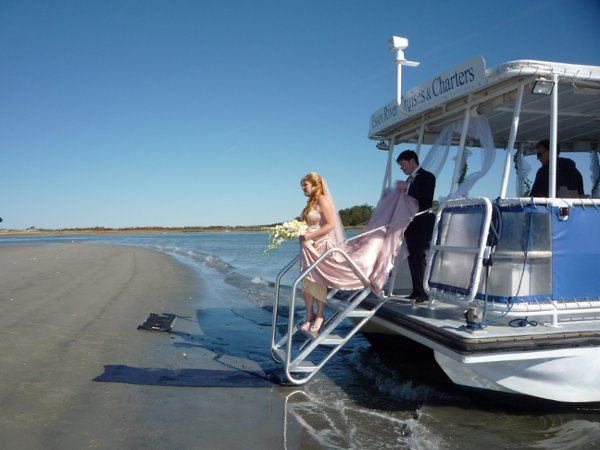 wedding on seculed sandbar beach
