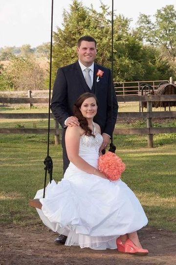 Newlyweds in the swing
