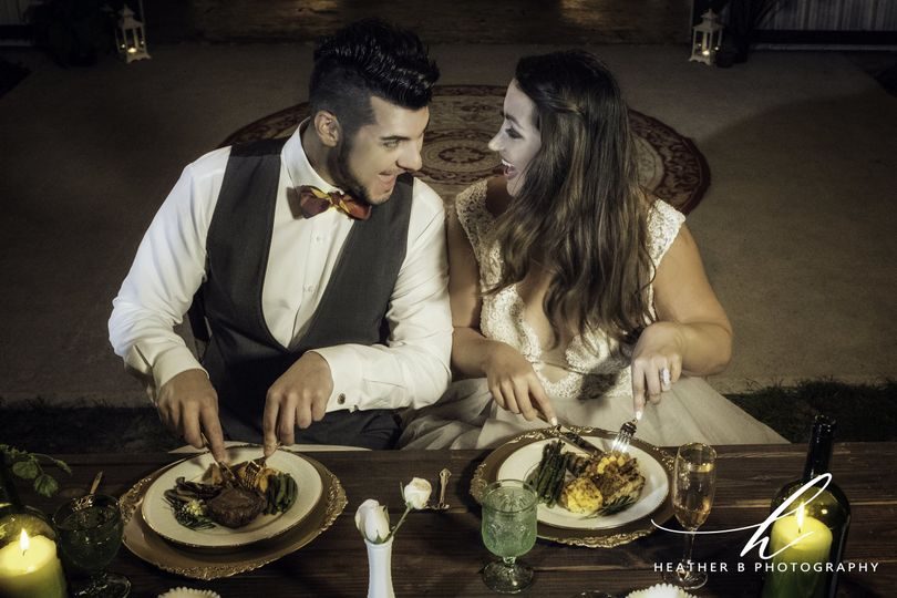 Newlyweds enjoying their food