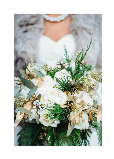 Bouquet with wild flowers and interesting foliage