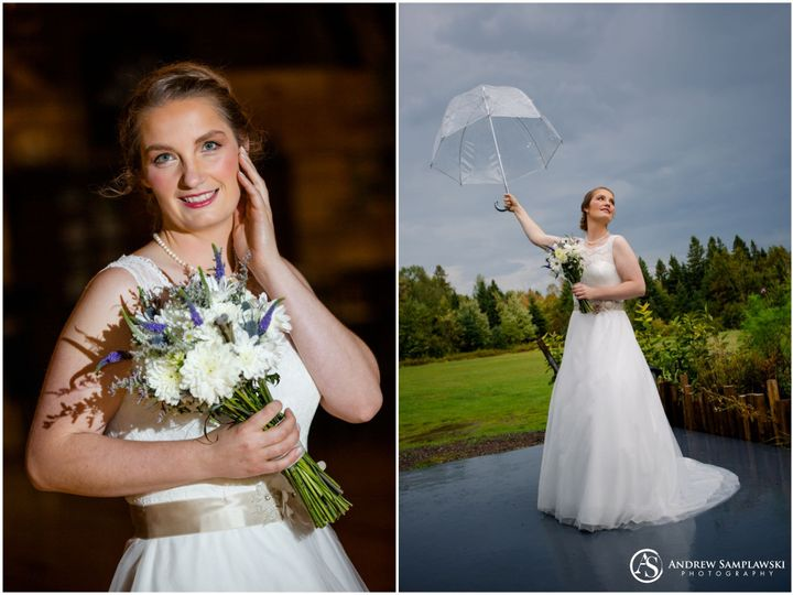 Gorgeous bride on a rainy day with the storm passing as love filled the air.