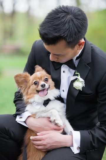 Groom and his little assistant