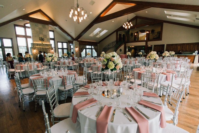 Reception tables and raised centerpieces