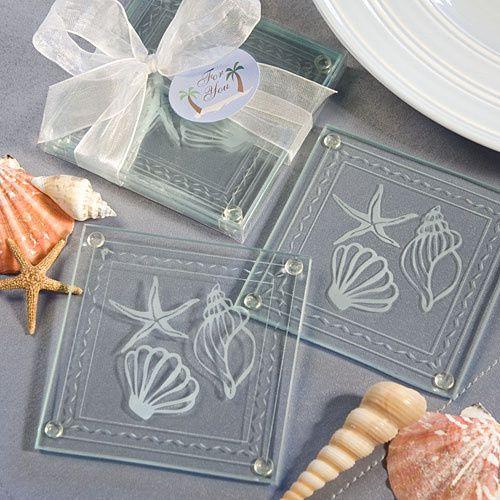 Beach Themed Glass Coaster Favors ($0.60)