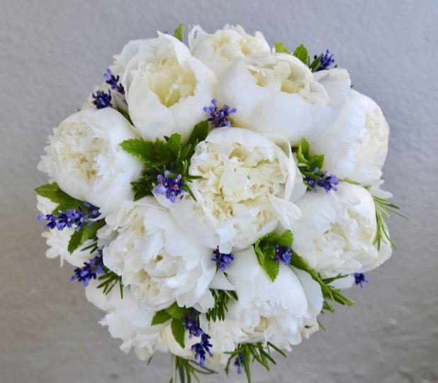 Bride's bouquet of peonies