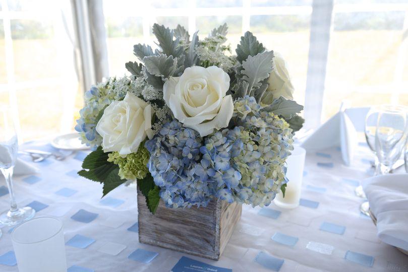 Blue hydrangea centerpiece