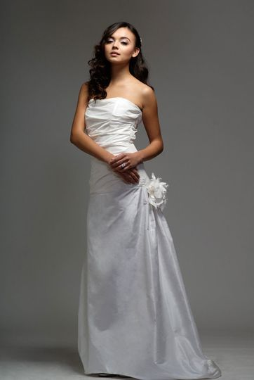 Cassandra  Silk Taffeta, Rouched strapless gown with asymmetrical a-line skirt & handmade flowers