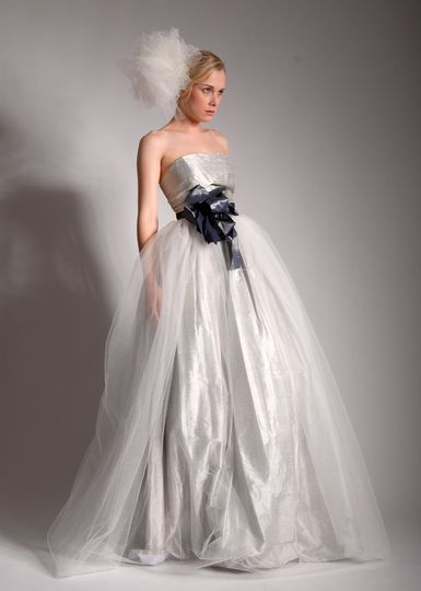 Janine  Silk Dupioni and tulle ballgown with silk taffeta architectural bow sash