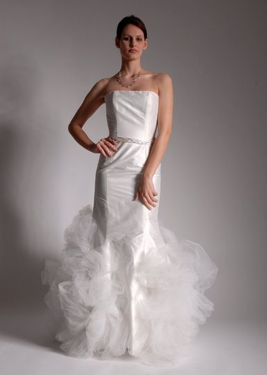 Jennifer  Silk Shantung strapless modified sheath/mermaid with balloon tulle accents and...