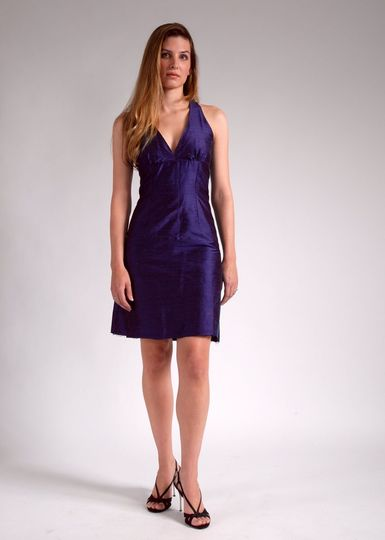 Liz  Silk, halter neckline, empire waist, A-line skirt (maternity option available)