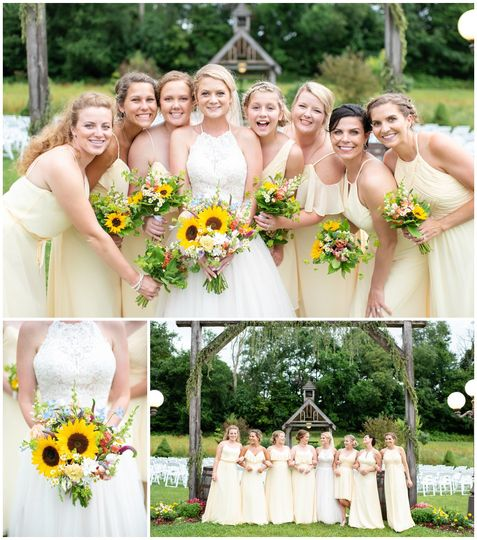 Sunflowers and bridesmaids