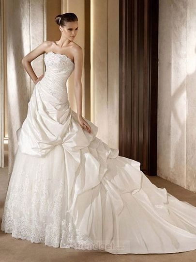 Product Name: Attractive A-line Strapless Floor-length Taffeta White Wedding Dresses 2012 Item...