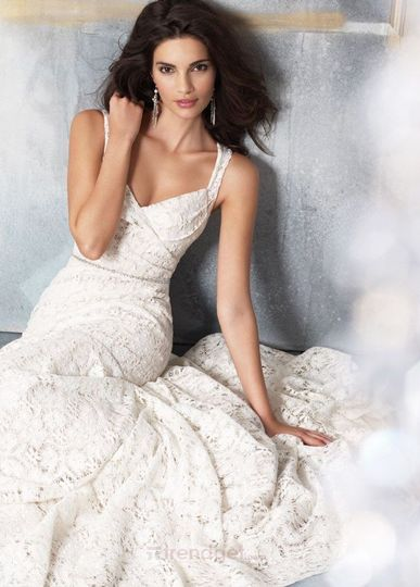Unique A-line Straps Floor-length Lace White Wedding Dresses Item Code: 122262 Price: $206.99...