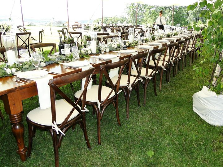 Cross back chairs w/ farm tables