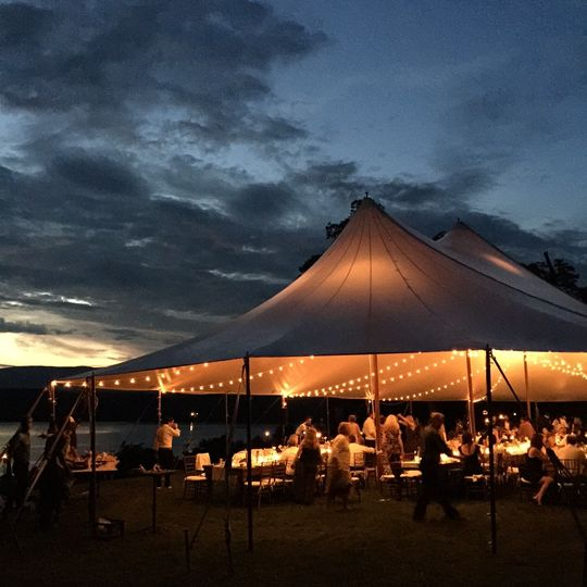 Sail tent w/ canopy bistros as dusk!