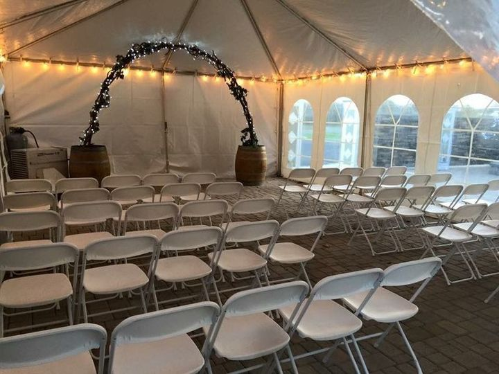 November wedding ceremony at the falls! Clearspan frame tent