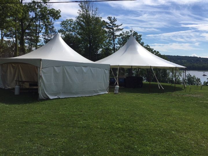 44x43 Stillwater sail tent with 20x20 high peak cook tent at Shakespeare on the Hudson