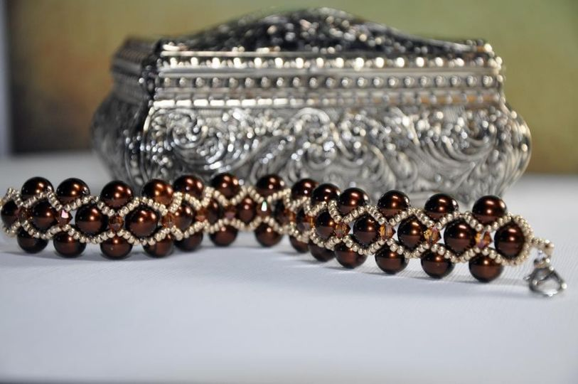 brown bead gold weave pearl bracelet1