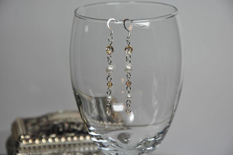 bead brown white swarovski drop earrings