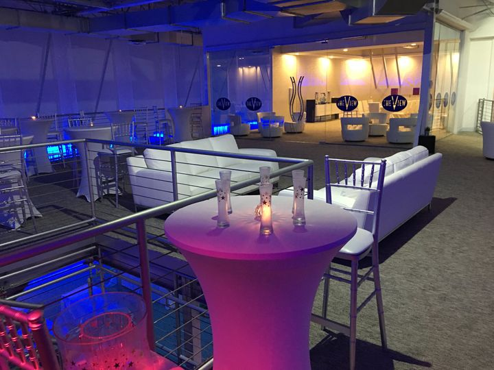 Cocktail table and lounging area
