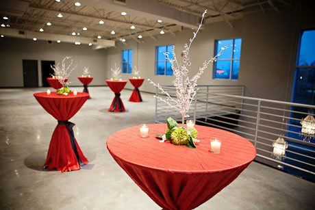 Red cocktail tables