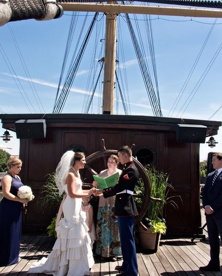 Ceremony on charthouse deck