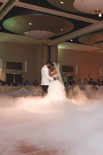 Newlyweds in cloud effect