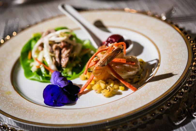 shrimp and lettuce wrap close up of shrimp