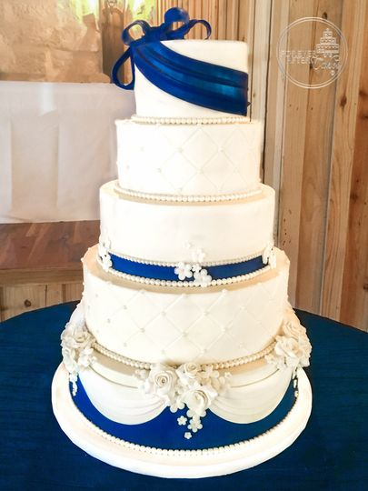 Forever after cakes wedding cake lake jackson tx weddingwire 800x800 1473348464818 navy and blue wedding cake with fondant bow flower junglespirit Image collections