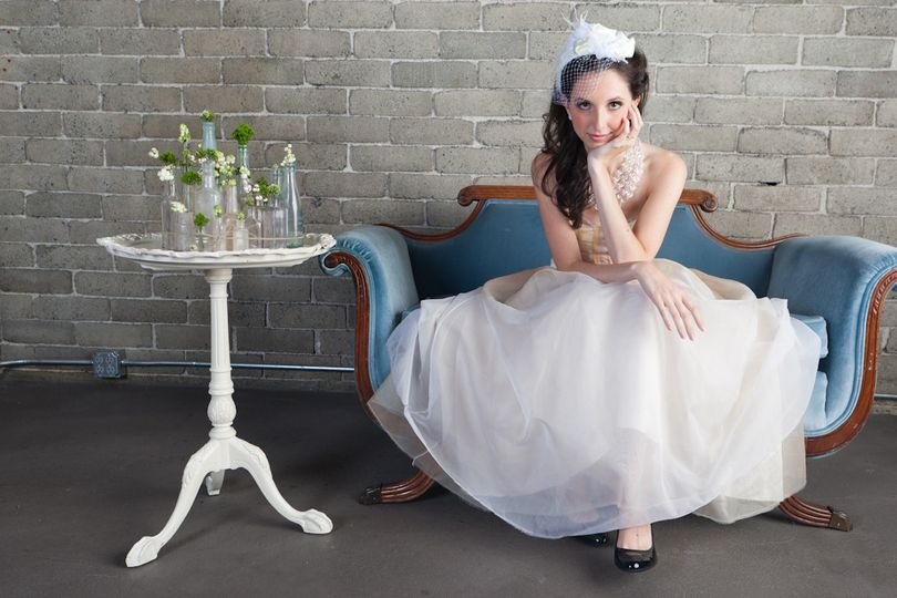 Bride sitting on the chaise lounge