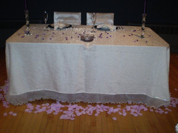 Fall Wedding '09. Sweetheart table. White Shimmer Crush Tablecloth with crystallized pleated trim...