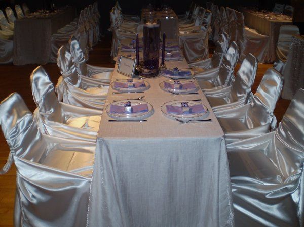 Fall Wedding '09.  White Shimmer Crush tablecloths with butterfly chair covers.