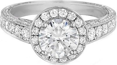 henri daussi pave diamond halo engagement ring h18