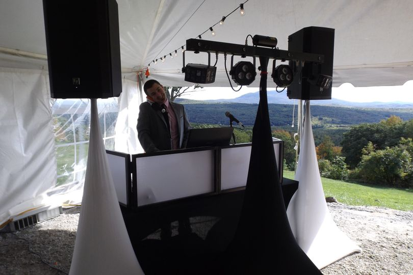 A neat and tidy DJ Setup at the Cobb Hill Estate
