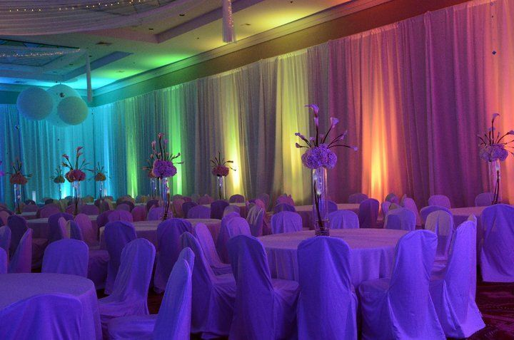 Reception setup with rainbow lights