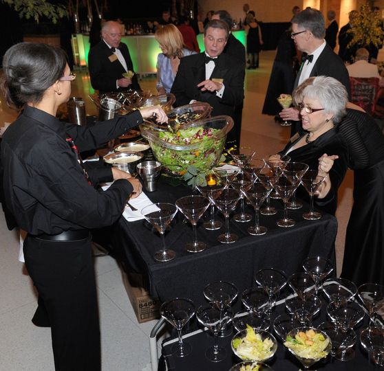 Strolling salad served in a martini glass.