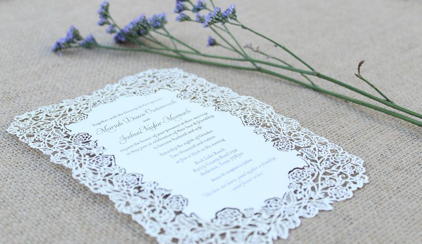 Elias paper co invitations houston tx weddingwire for Laser cut wedding invitations houston